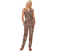 Attitudes by Renee Printed Jumpsuit with Tie Waist - A265428