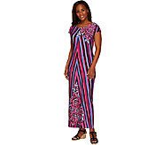 Bob Mackies Printed Jersey Knit Cap Sleeve Maxi Dress - A265728