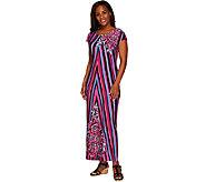 Bob Mackies Printed Jersey Knit Cap Sleeve Maxi Dress - A265728