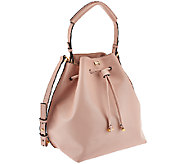 H by Halston Smooth Leather Drawstring Bucket Handbag - A269728