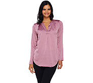 H by Halston Ruched V-neck Long Sleeve Woven Blouse - A270228