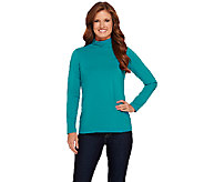 Susan Graver Essential Cotton Modal Long Sleeve Mock Neck Top - A270328