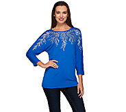 Bob Mackies 3/4 Dolman Sleeve Embroidered Knit Top - A271128