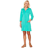 As Is Denim & Co. Beach 3/4 Sleeve Zip Front Cover Up with Hood - A271428