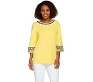 Bob Mackies 3/4 Sleeve Ponte Knit Top with Sequin Detail - A273528