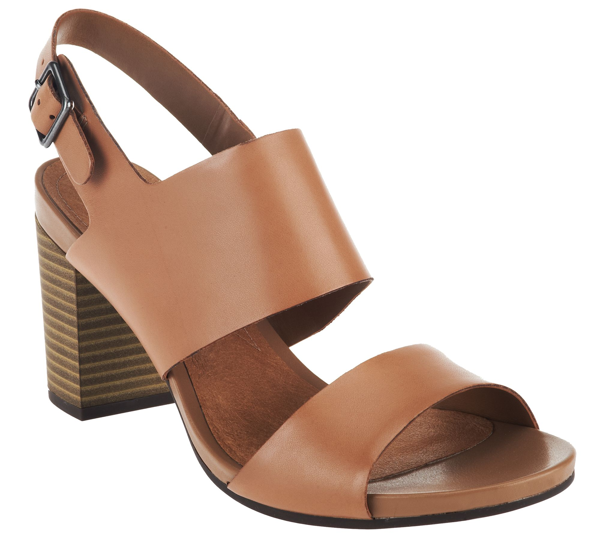 Ships 2/15 Clarks Leather Block Heel Sandals - Banoy Tulia