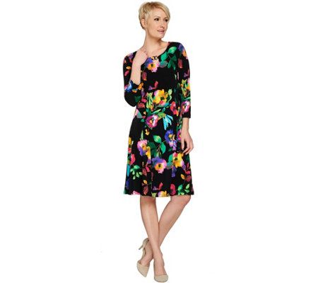 Susan Graver Liquid Knit Dress with Enamel Detail — QVC.com