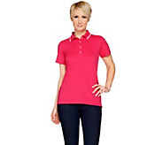 Susan Graver Weekend Pique Cap Sleeve Polo Shirt - A275228