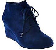 Vionic Suede Lace-up Wedge Boots - Becca - A279928