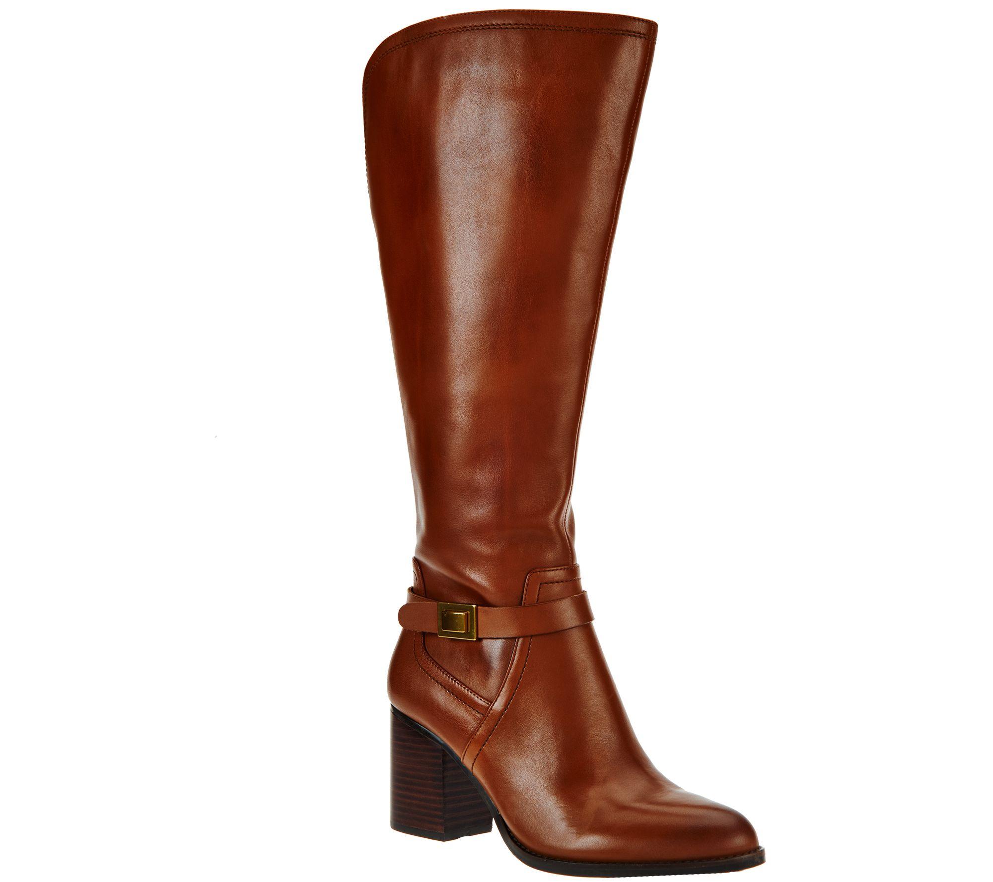 franco sarto leather wide calf shaft boots arlette