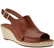 As Is Clarks Artisan Leather Espadrille Wedge Sandals - Petrina Meera - A285528