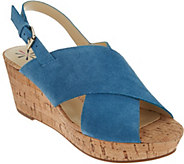 As Is Isaac Mizrahi Live! Suede Cross Band Wedge Sandals - A286028