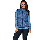 C. Wonder Quilted Zip Front Lattice Print Vest with Pockets - A286428