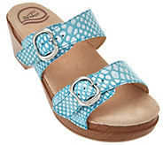 As Is Dansko Leather Slide Sandals with Double Adj. Straps - Sophie - A286528