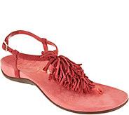Vionic Orthotic Suede Fringe T-Strap Sandals - Sosha - A287728