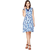 Denim & Co. Printed Sleeveless Dress with Solid Trim - A288728