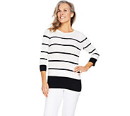 Susan Graver Cotton Rayon Nylon Striped Sweater - A289428