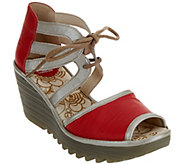 FLY London Leather Two Piece Lace-up Wedges - Yaty - A289728