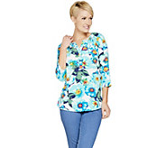 Denim & Co. Floral Print Stretch Woven 3/4 Sleeve Henley Top - A291628