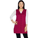 Susan Graver Rayon Nylon Button Front Long Sweater Vest - A293628