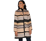 Isaac Mizrahi Live! Brushed Engineered Stripe Snap Front Coat - A295828