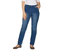 Denim & Co. Reg Modern Pull on Denim Full Length Straight Leg Jeans - A299328