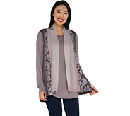 LOGO by Lori Goldstein Open-front Panel Cardigan with Tank - A299628