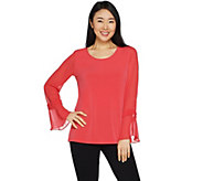 GRAVER Susan Graver Liquid Knit Top with Sheer Chiffon Sleeves - A301128