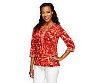 Susan Graver Liquid Knit Printed Top with Ruched Neckline - A91328