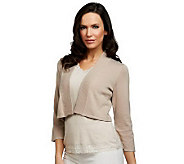 Susan Graver Essentials Sweater Knit 3/4 Sleeve Shrug - A221329