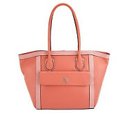 Isaac Mizrahi Live! Bridgehampton Color-Block Leather Tote - A230529