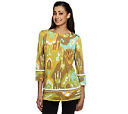 Bob Mackies 3/4 Sleeve Ikat Print Top with Side Darts - A234629