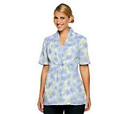 As Is Denim & Co. Short Sleeve Floral Duet Top with Beading Detail - A240929
