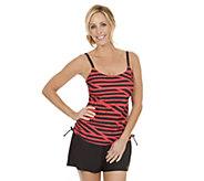 Ocean Dream Signature Stripes Side Shirred Tankini with Shorts - A252529