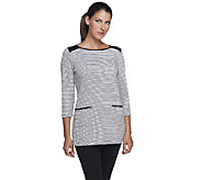 Susan Graver Weekend French Terry Tunic with Faux Leather Detail - A257129