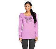 Quacker Factory Fall Diamond Bling Long Sleeve T-shirt - A257629