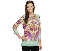 As Is Susan Graver Liquid Knit Printed Bateau Neck Top - A260529