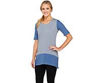 LOGO by Lori Goldstein Short Sleeve Cotton Slub Color-Block Top - A261129