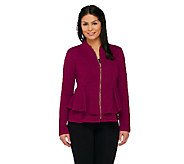 George Simonton Textured Knit Zip Front Peplum Jacket - A262229