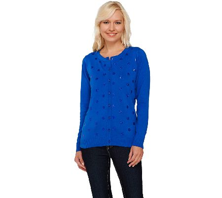 Quacker Factory Party Sequin Cardigan Sweater - A264529