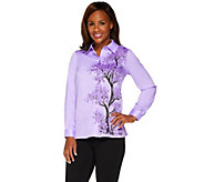 Bob Mackies Printed Flowering Tree Button Front Collared Top - A265729