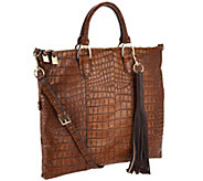 G.I.L.I. Croco Embossed Italian Leather Foldover Tote - A266529