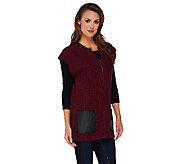 Dennis Basso Zip Front Sweater Cardigan w/Faux Leather Pockets - A270629
