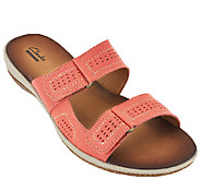 As Is Clarks Double Strap Leather Sandals - Taline Pop - A271429
