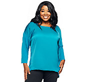 As Is Jennifer Hudson Collection Mixed Media Top w/ Hi-Lo Hem - A272129