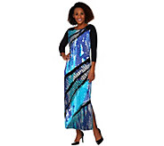 Bob Mackies 3/4 Sleeve Reptile Printed Knit Maxi Dress with Side Slit - A273529