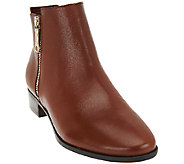 As Is Marc Fisher Leather Zipper Ankle Boots - Geri - A275629