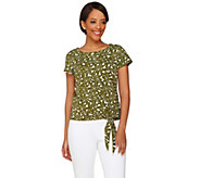 C. Wonder Printed Crew Neck Short Sleeve Knit Top with Side Tie - A276229