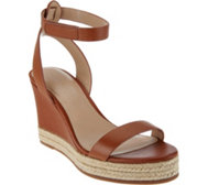 H by Halston Leather Espadrille Wedges - Gene