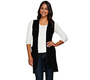 As Is Attitudes by Renee Sweater Vest W/ Faux Leather Trim - A277329
